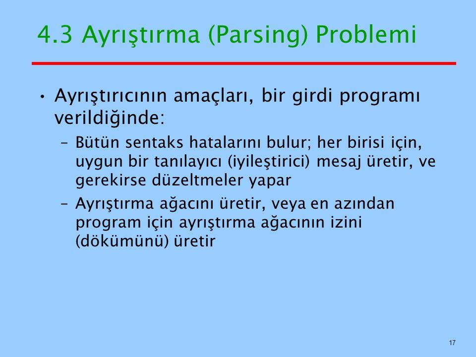 4.3 Ayrıştırma (Parsing) Problemi