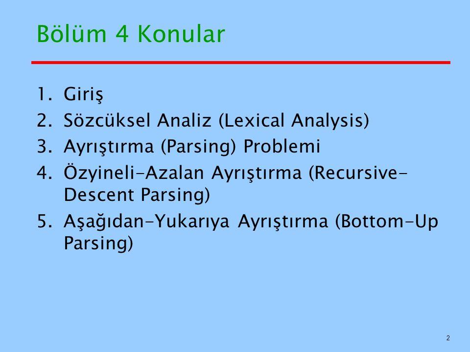Bölüm 4 Konular Giriş Sözcüksel Analiz (Lexical Analysis)