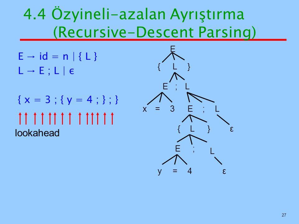 4.4 Özyineli-azalan Ayrıştırma (Recursive-Descent Parsing)