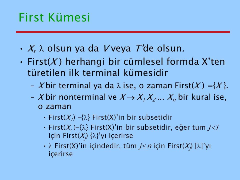 First Kümesi X,  olsun ya da V veya T'de olsun.