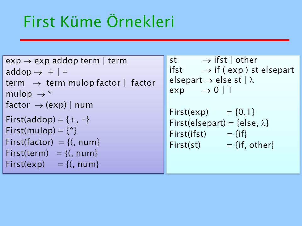 First Küme Örnekleri exp  exp addop term | term addop  + | -