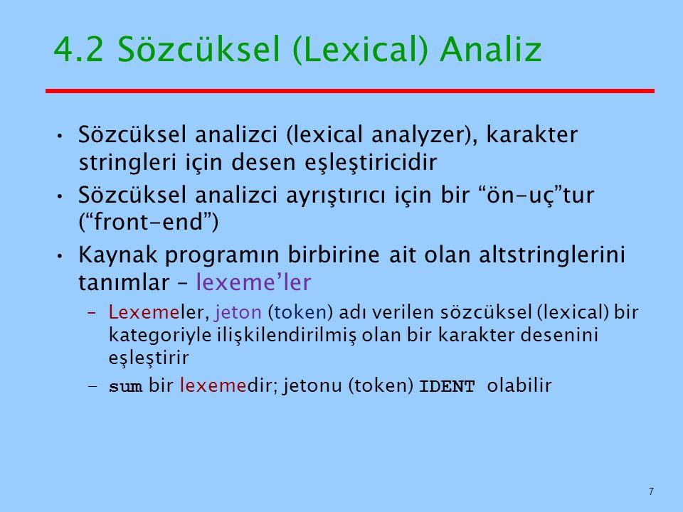 4.2 Sözcüksel (Lexical) Analiz