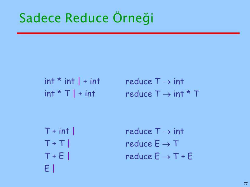 Sadece Reduce Örneği int * int | + int reduce T  int int * T | + int