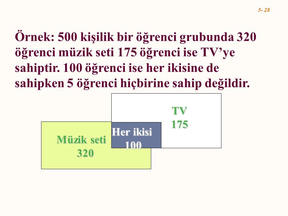 Örnek: 500 kişilik bir öğrenci grubunda 320 öğrenci müzik seti 175 öğrenci ise TV'ye sahiptir. 100 öğrenci ise her ikisine de sahipken 5 öğrenci hiçbirine sahip değildir.