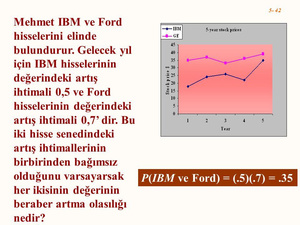 Mehmet IBM ve Ford hisselerini elinde bulundurur