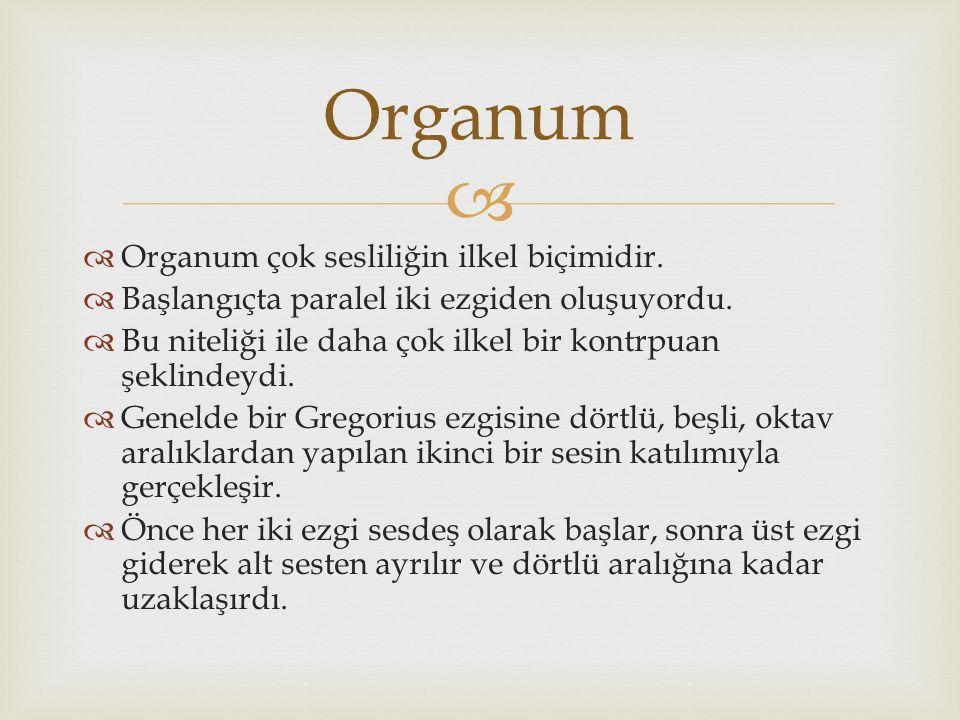 Organum Organum çok sesliliğin ilkel biçimidir.