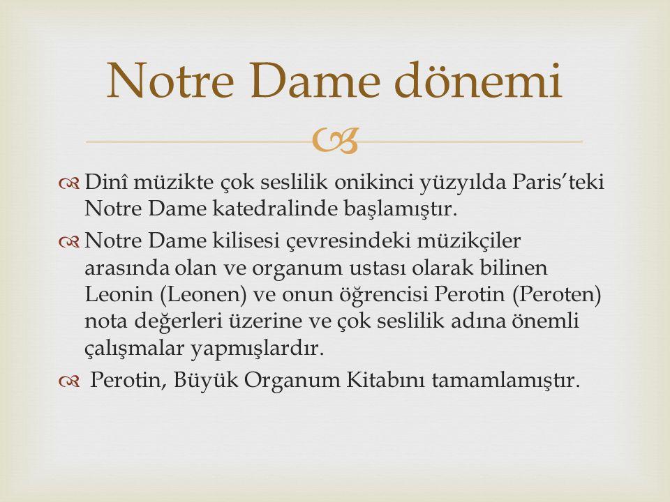 Notre Dame dönemi Dinî müzikte çok seslilik onikinci yüzyılda Paris'teki Notre Dame katedralinde başlamıştır.