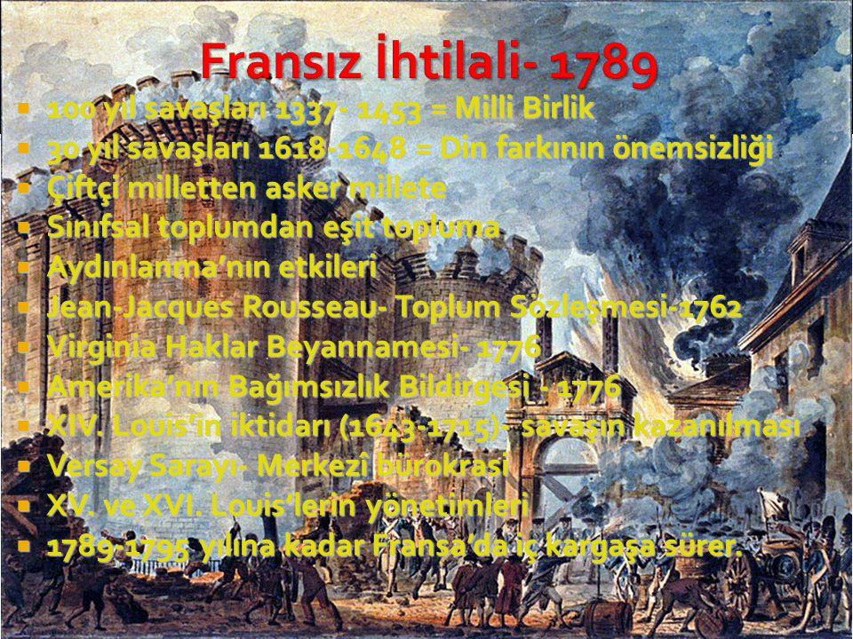 Fransız İhtilali- 1789 100 yıl savaşları 1337- 1453 = Milli Birlik