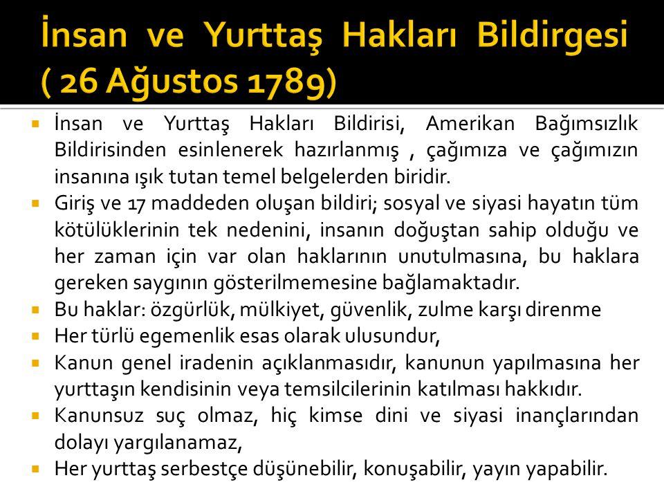 İnsan ve Yurttaş Hakları Bildirgesi ( 26 Ağustos 1789)