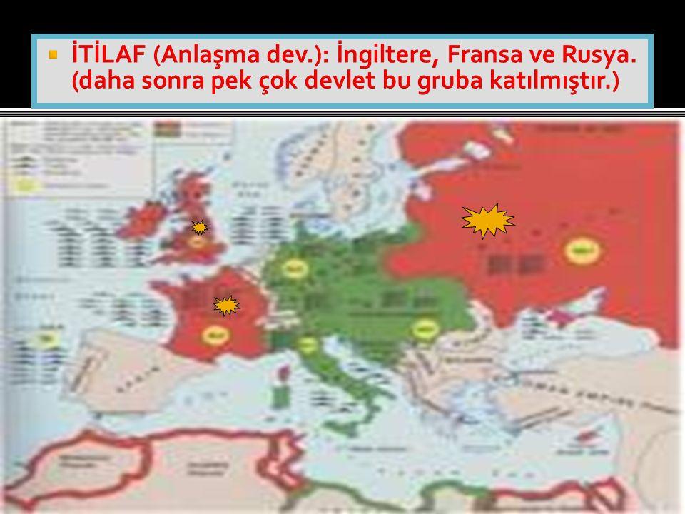 İTİLAF (Anlaşma dev. ): İngiltere, Fransa ve Rusya