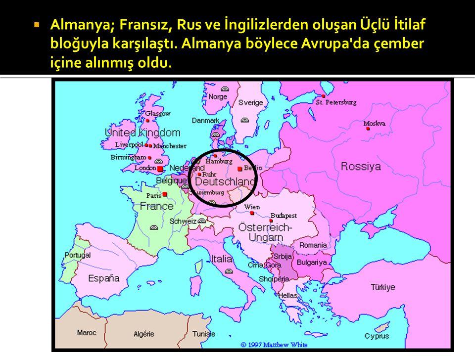 Almanya; Fransız, Rus ve İngilizlerden oluşan Üçlü İtilaf bloğuyla karşılaştı.