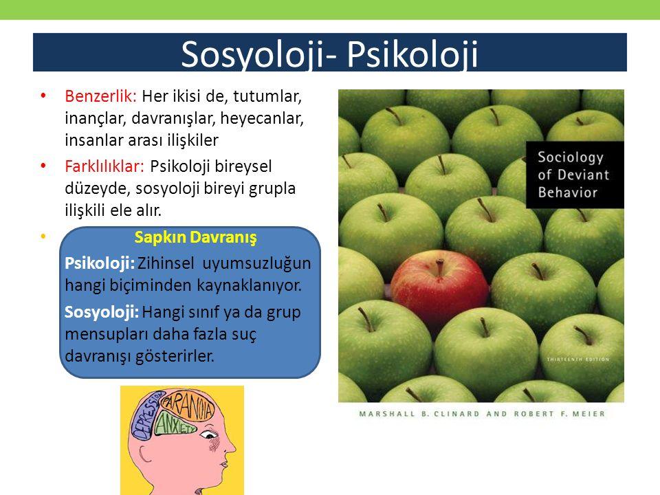 Sosyoloji- Psikoloji Benzerlik: Her ikisi de, tutumlar, inançlar, davranışlar, heyecanlar, insanlar arası ilişkiler.