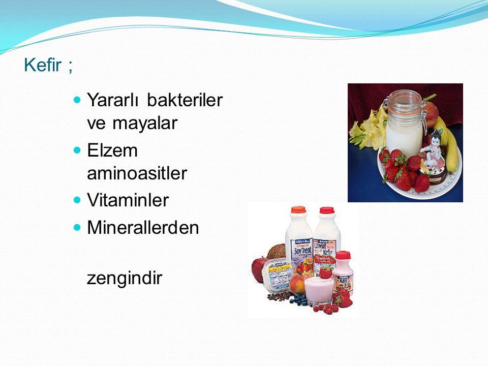 Kefir ; Yararlı bakteriler ve mayalar Elzem aminoasitler Vitaminler Minerallerden zengindir