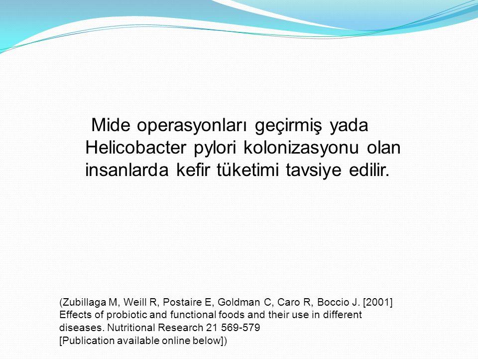 Mide operasyonları geçirmiş yada Helicobacter pylori kolonizasyonu olan insanlarda kefir tüketimi tavsiye edilir.
