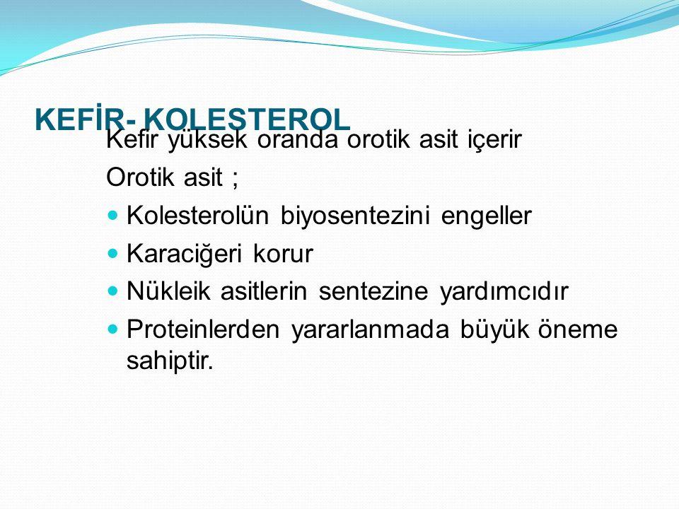 KEFİR- KOLESTEROL Kefir yüksek oranda orotik asit içerir Orotik asit ;