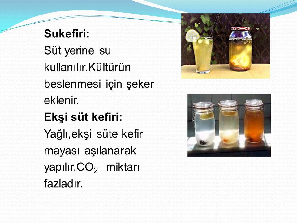 Sukefiri: Süt yerine su. kullanılır.Kültürün. beslenmesi için şeker. eklenir. Ekşi süt kefiri: Yağlı,ekşi süte kefir.