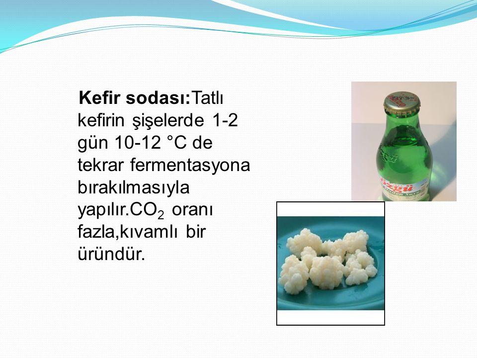 Kefir sodası:Tatlı kefirin şişelerde 1-2 gün 10-12 °C de tekrar fermentasyona bırakılmasıyla yapılır.CO2 oranı fazla,kıvamlı bir üründür.