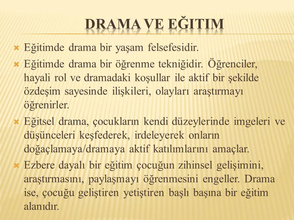 Drama ve eğitim Eğitimde drama bir yaşam felsefesidir.