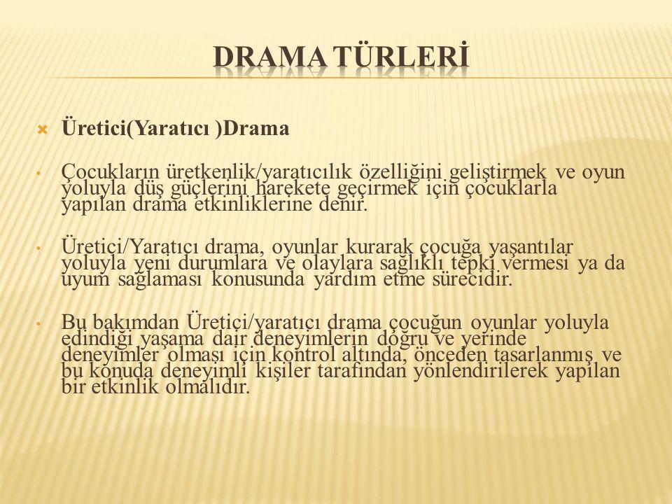 DRAMA TÜRLERİ Üretici(Yaratıcı )Drama
