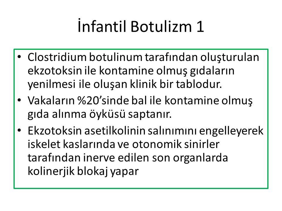 İnfantil Botulizm 1 Clostridium botulinum tarafından oluşturulan ekzotoksin ile kontamine olmuş gıdaların yenilmesi ile oluşan klinik bir tablodur.