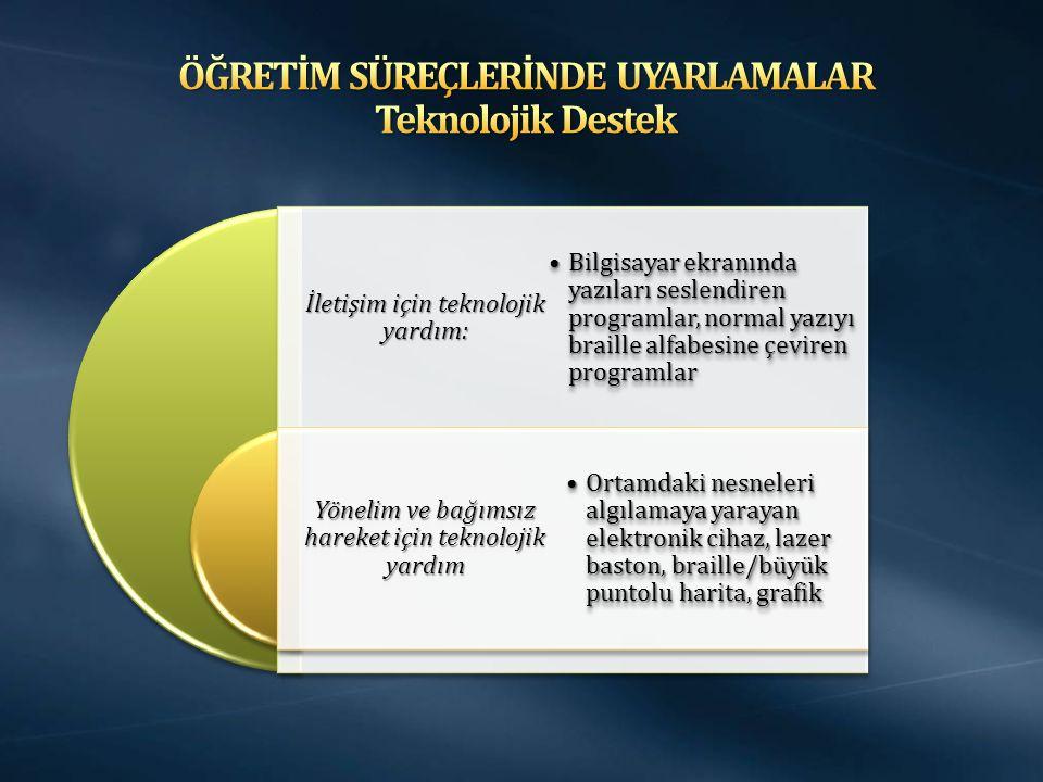 ÖĞRETİM SÜREÇLERİNDE UYARLAMALAR Teknolojik Destek