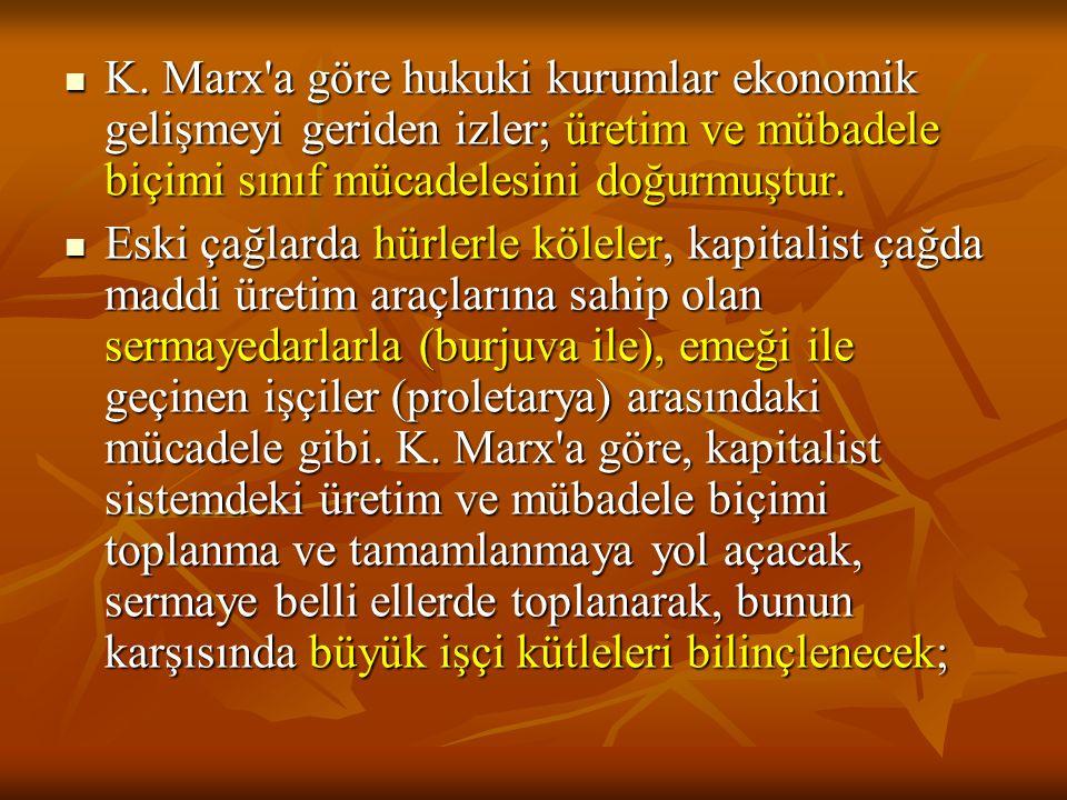 K. Marx a göre hukuki kurumlar ekonomik gelişmeyi geriden izler; üretim ve mübadele biçimi sınıf mücadelesini doğurmuştur.