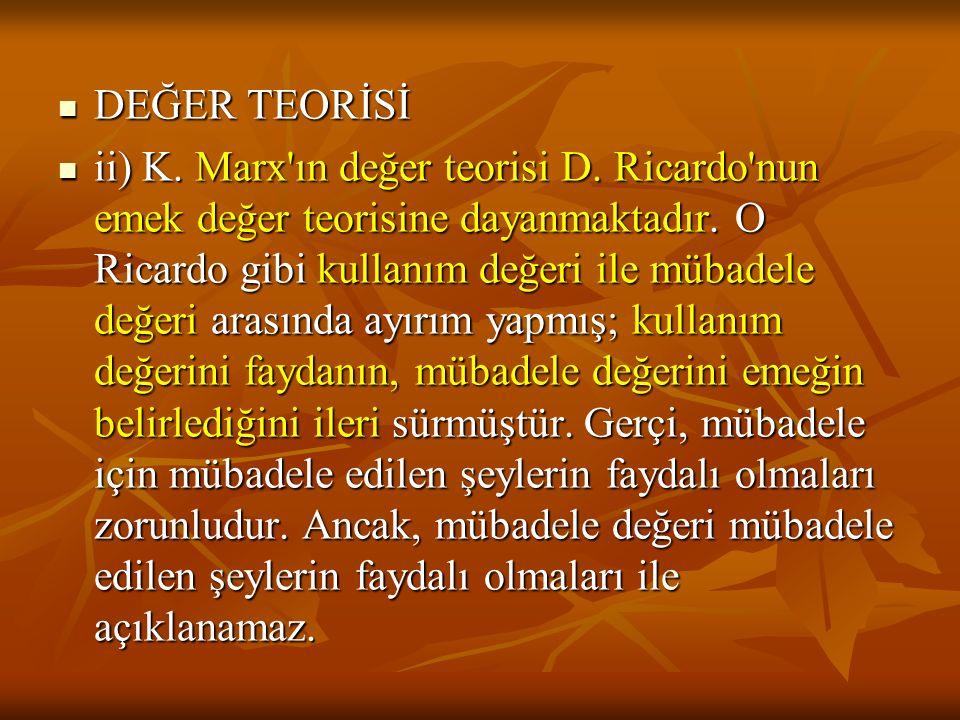 DEĞER TEORİSİ