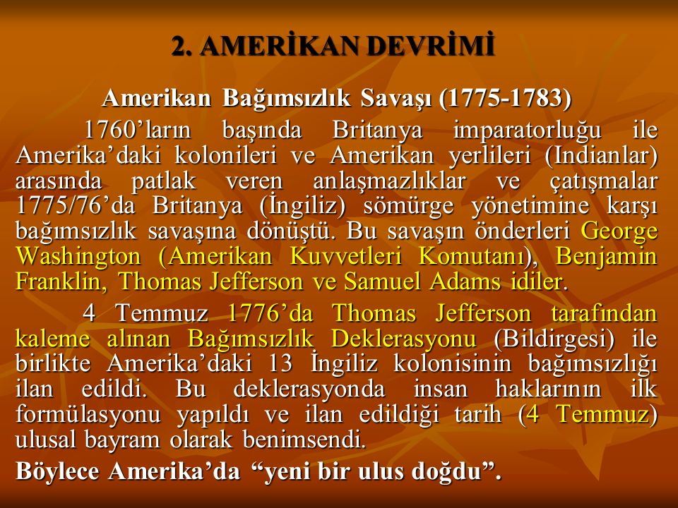 2. AMERİKAN DEVRİMİ