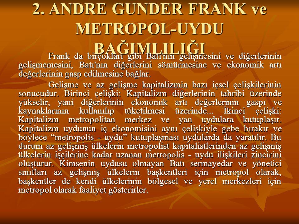 2. ANDRE GUNDER FRANK ve METROPOL-UYDU BAĞIMLILIĞI