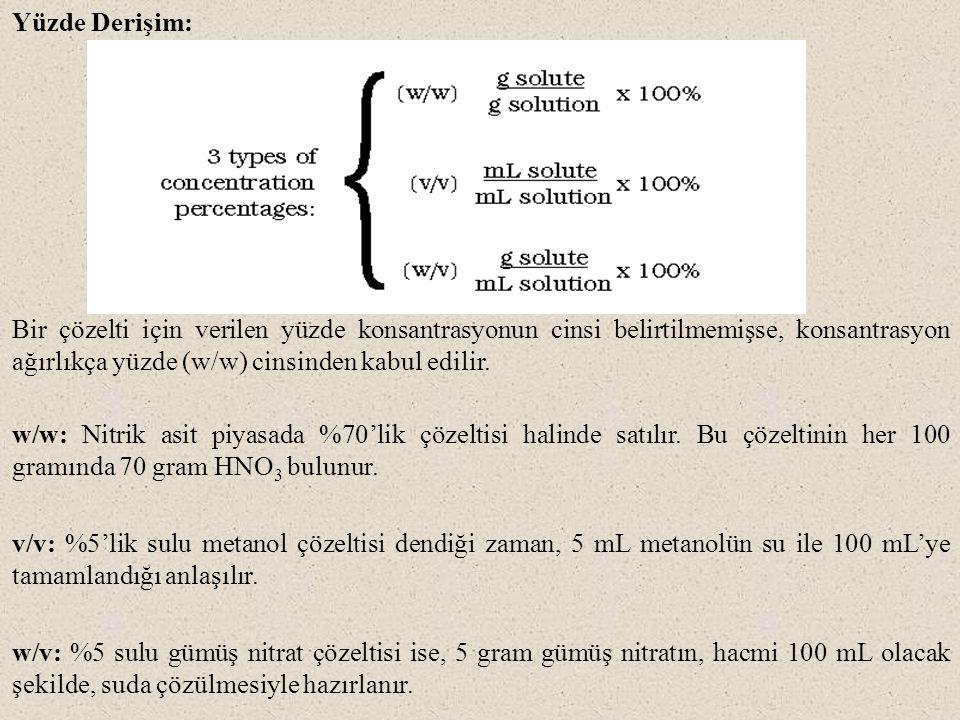 Yüzde Derişim: Bir çözelti için verilen yüzde konsantrasyonun cinsi belirtilmemişse, konsantrasyon ağırlıkça yüzde (w/w) cinsinden kabul edilir.