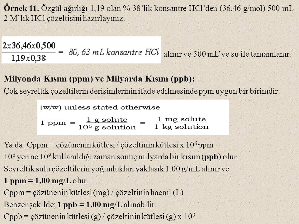 Milyonda Kısım (ppm) ve Milyarda Kısım (ppb):