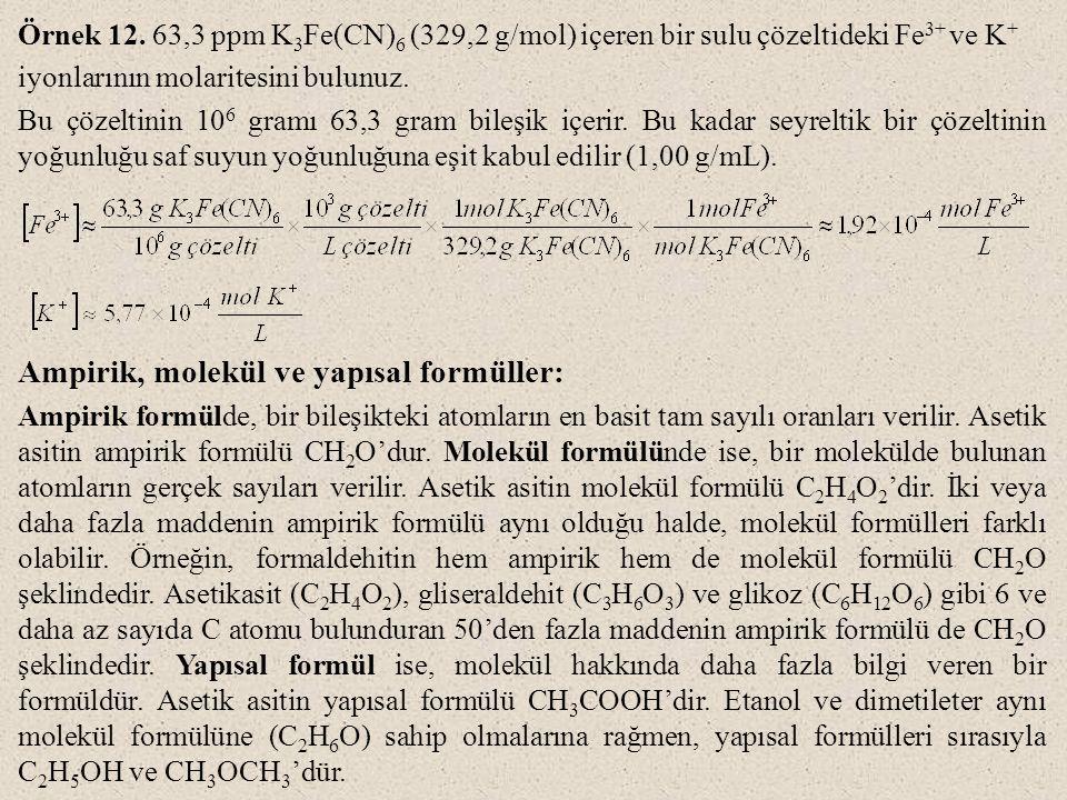 Ampirik, molekül ve yapısal formüller: