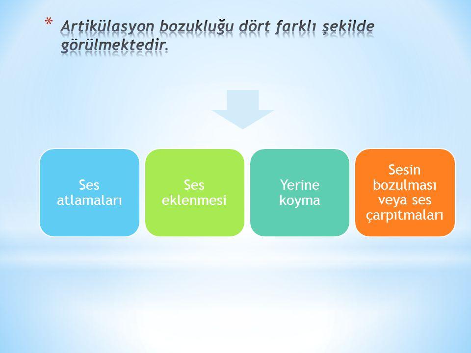 Artikülasyon bozukluğu dört farklı şekilde görülmektedir.