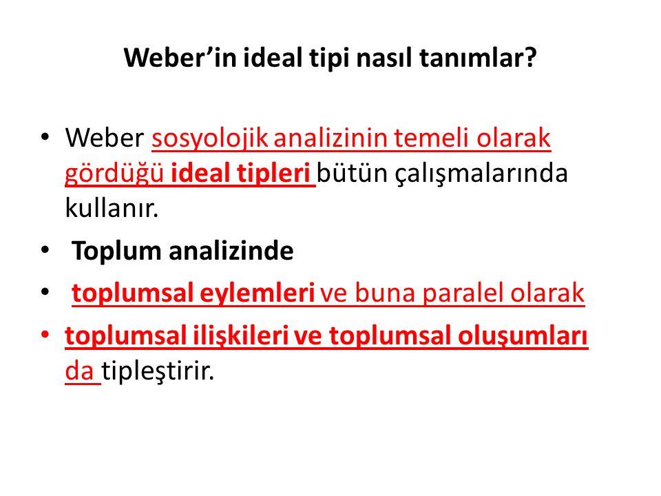 Weber'in ideal tipi nasıl tanımlar