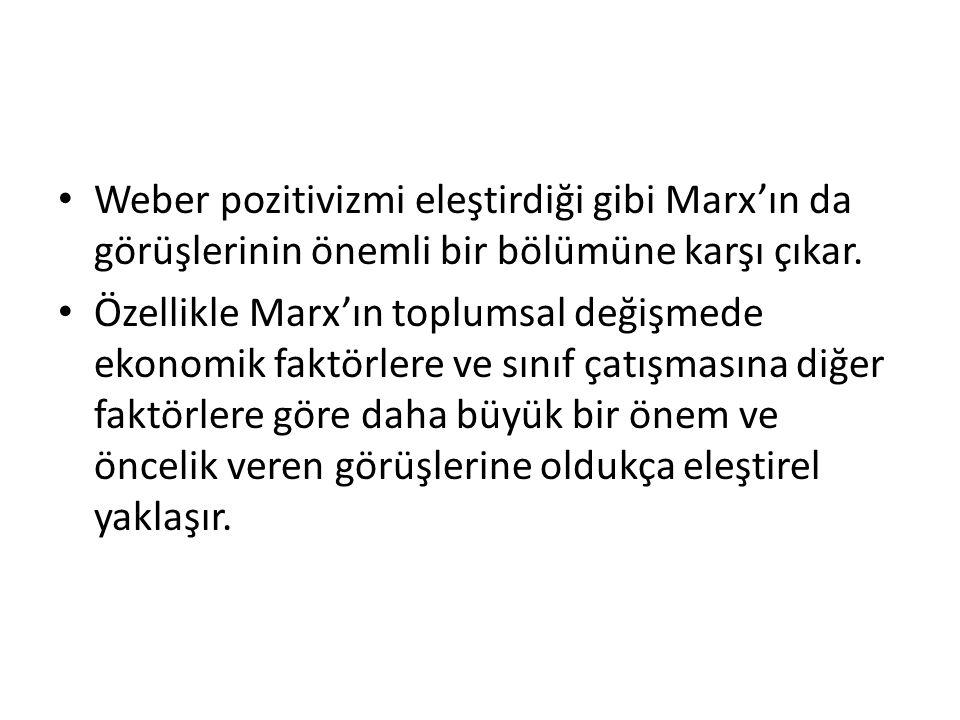 Weber pozitivizmi eleştirdiği gibi Marx'ın da görüşlerinin önemli bir bölümüne karşı çıkar.