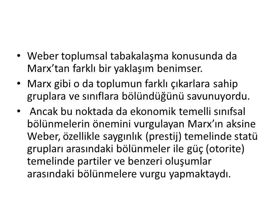 Weber toplumsal tabakalaşma konusunda da Marx'tan farklı bir yaklaşım benimser.