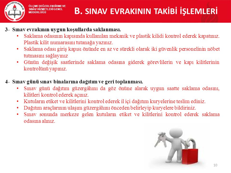B. SINAV EVRAKININ TAKİBİ İŞLEMLERİ