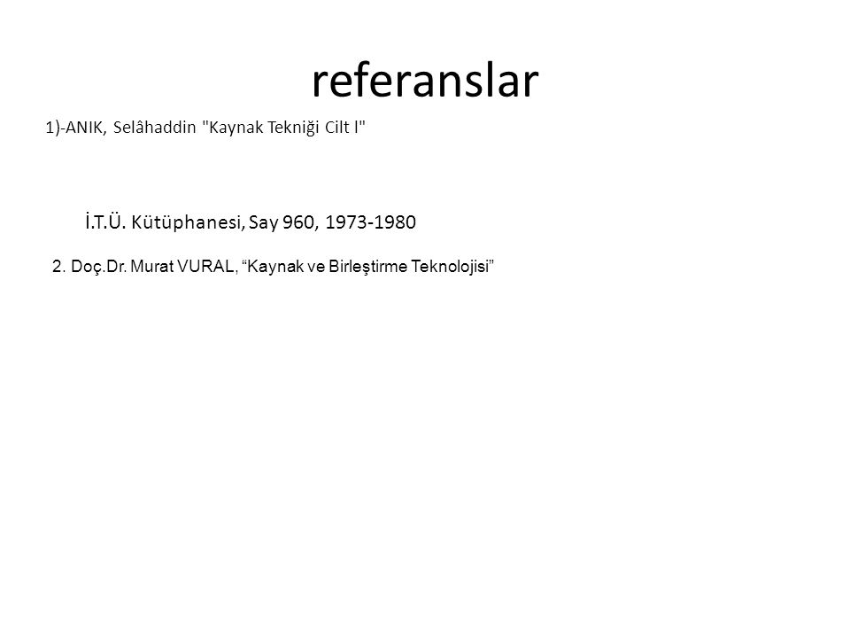 referanslar İ.T.Ü. Kütüphanesi, Say 960, 1973-1980