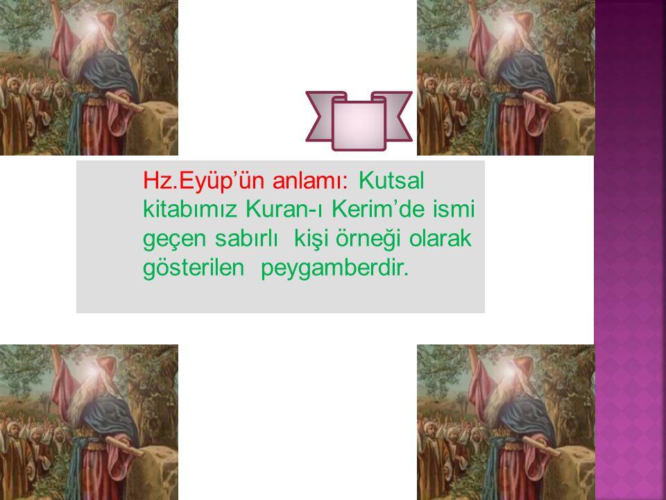 . Hz.Eyüp'ün anlamı: Kutsal kitabımız Kuran-ı Kerim'de ismi geçen sabırlı kişi örneği olarak gösterilen peygamberdir.