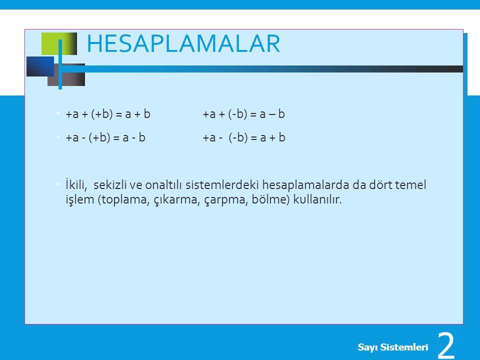 Hesaplamalar +a + (+b) = a + b +a + (-b) = a – b