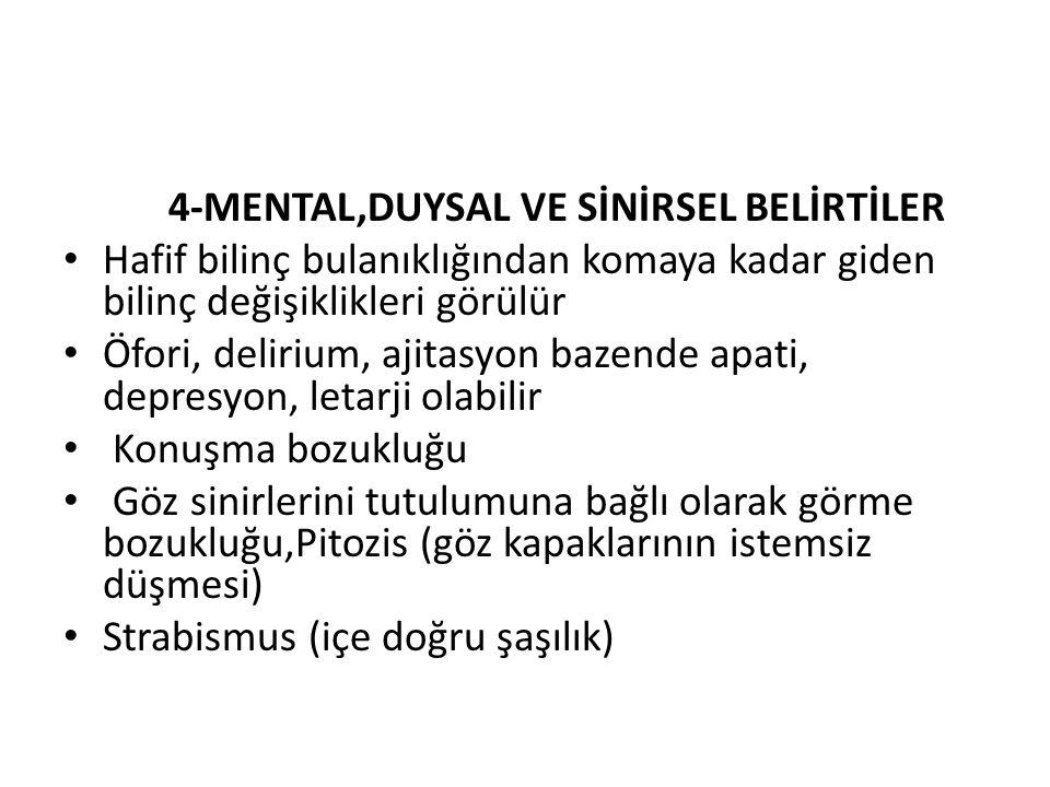 4-MENTAL,DUYSAL VE SİNİRSEL BELİRTİLER