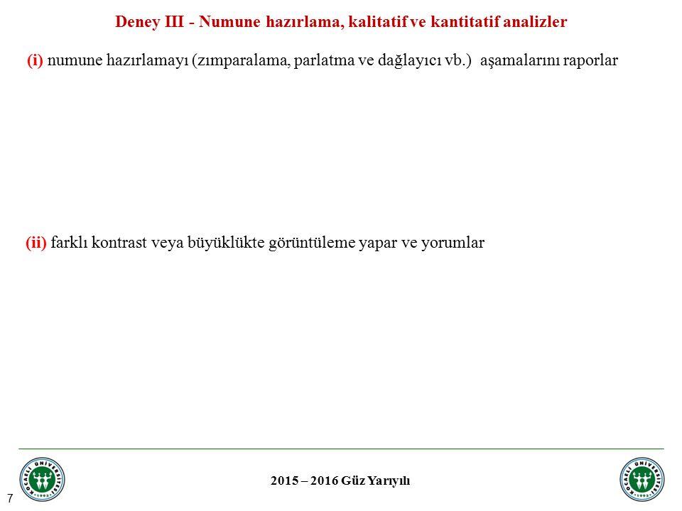 Deney III - Numune hazırlama, kalitatif ve kantitatif analizler