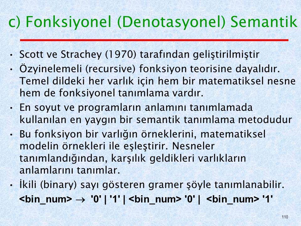 c) Fonksiyonel (Denotasyonel) Semantik