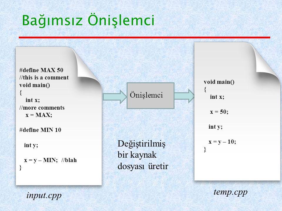 Bağımsız Önişlemci Değiştirilmiş bir kaynak dosyası üretir temp.cpp