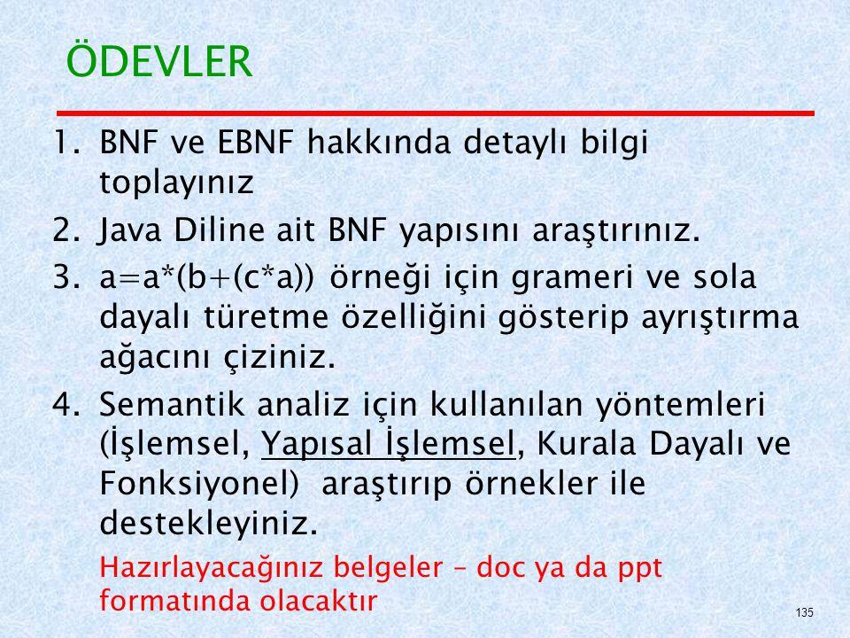 ÖDEVLER BNF ve EBNF hakkında detaylı bilgi toplayınız