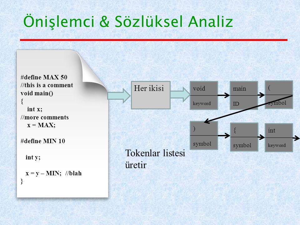 Önişlemci & Sözlüksel Analiz