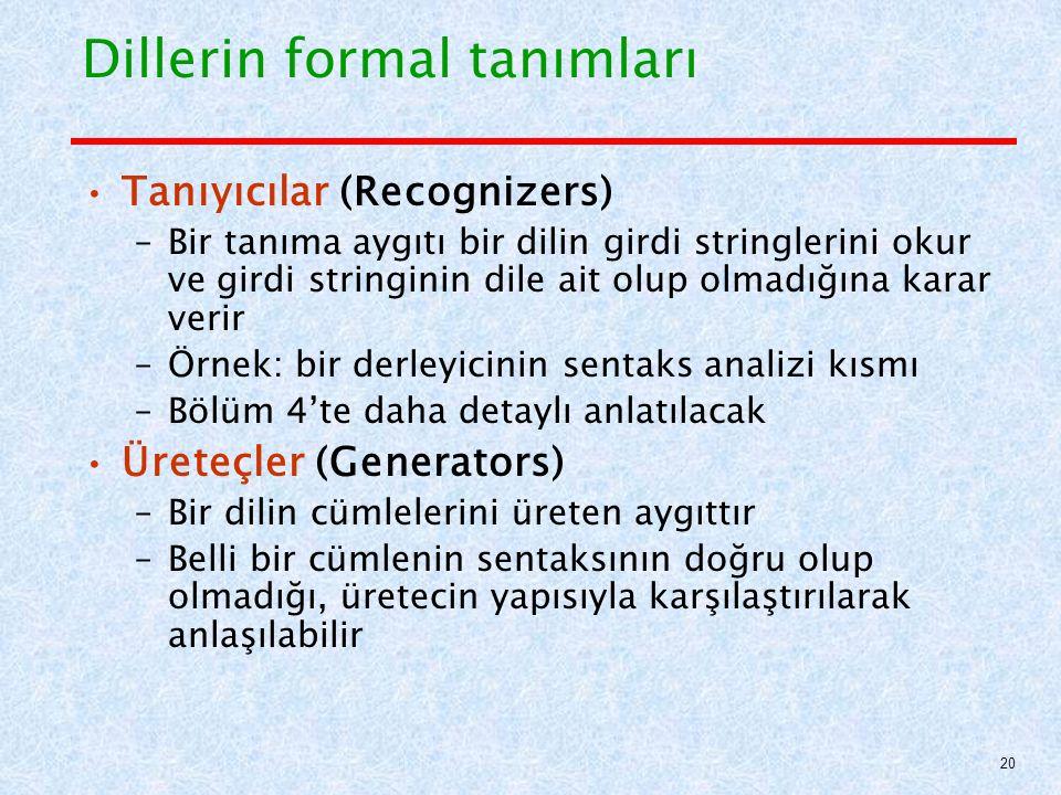 Dillerin formal tanımları