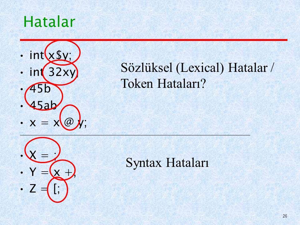Hatalar Sözlüksel (Lexical) Hatalar / Token Hataları Syntax Hataları