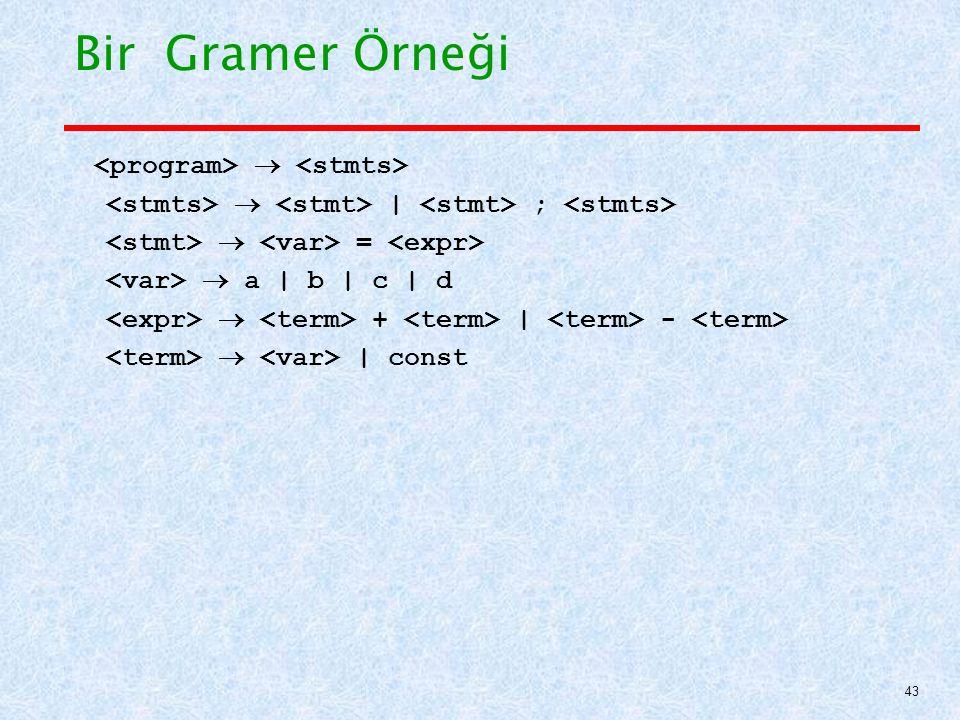 Bir Gramer Örneği <program>  <stmts>