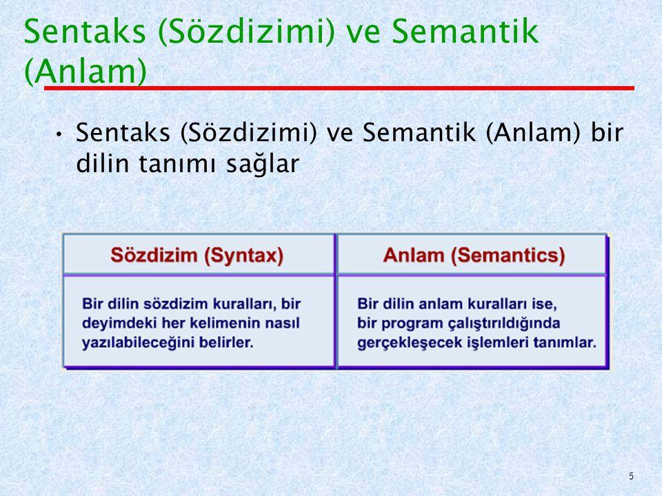 Sentaks (Sözdizimi) ve Semantik (Anlam)